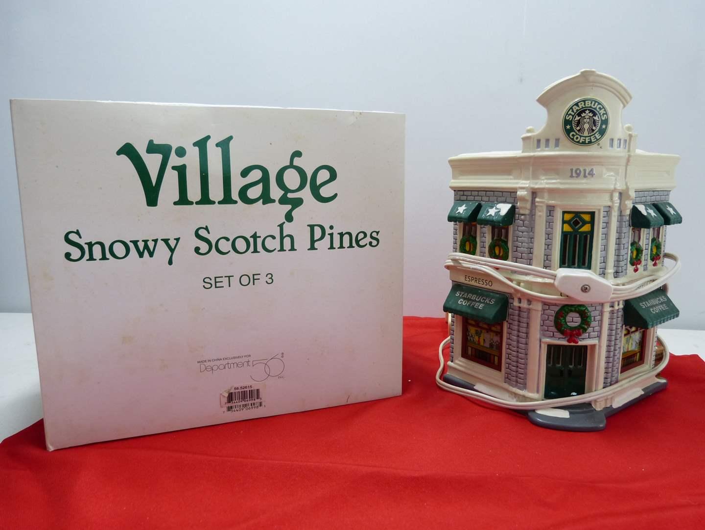 Lot # 242  Dept 56 3 pc set of heavy ceramic pine trees & Starbuck's building w/light