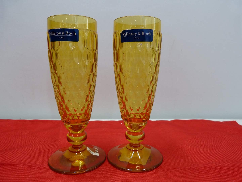 Lot # 244  2 Villroy & Bock amber flutes NEW (main image)