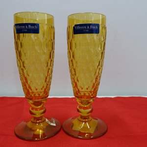 Lot # 244  2 Villroy & Bock amber flutes NEW