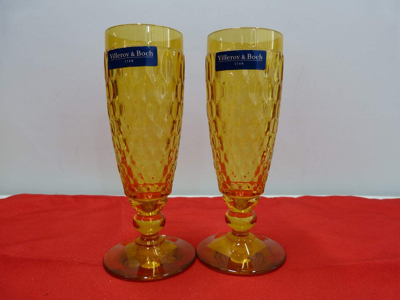 Lot # 245  2 Villroy & Bock amber flutes NEW (main image)