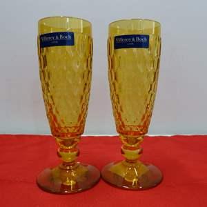Lot # 245  2 Villroy & Bock amber flutes NEW