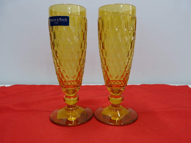 Lot # 246  2 Villroy & Bock amber flutes NEW (main image)