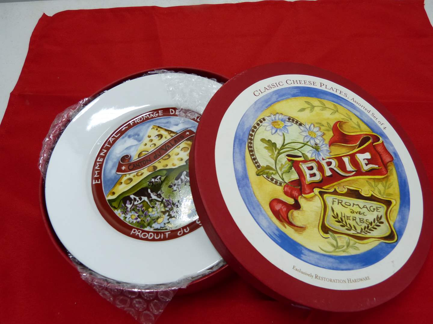 Lot # 254  4 New in box Brie Cheese snack plates by Restoration  (main image)