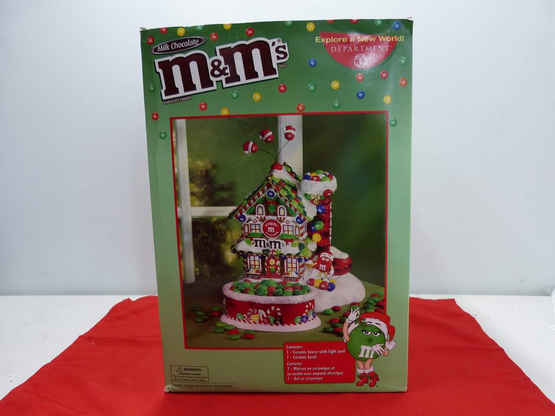 Lot # 255  M&M Christmas Candy Shop w/side dish & light  (main image)