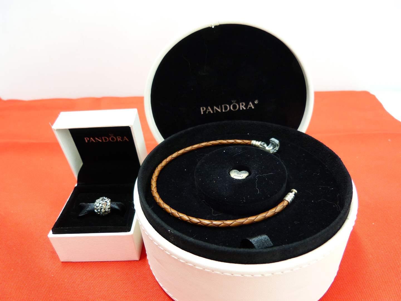 Lot # 263  Nice lightly used PANDORA bracelet & side charm (main image)