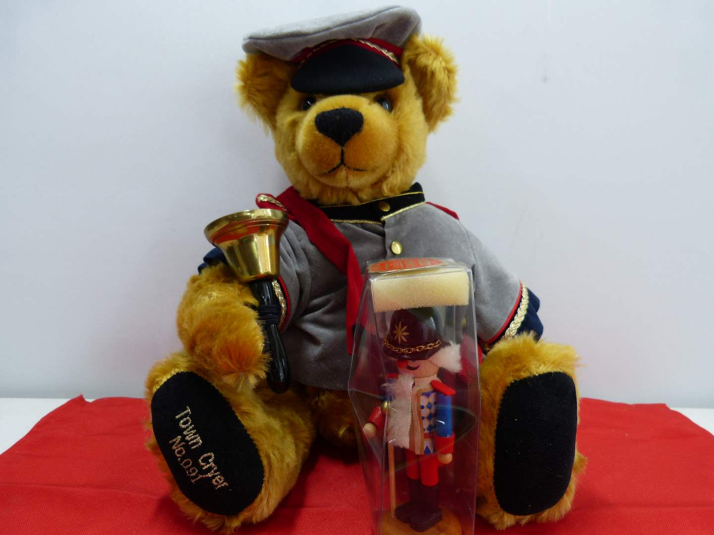 """Lot # 262  WOW HIGHLY collectible """"Town Cryer"""" limited edition Sonneberg Made in Germany w/ German nutcrackereddy bear (main image)"""