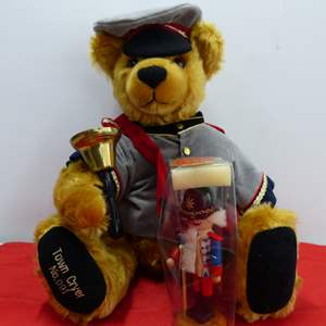 """Lot # 262  WOW HIGHLY collectible """"Town Cryer"""" limited edition Sonneberg Made in Germany w/ German nutcrackereddy bear"""