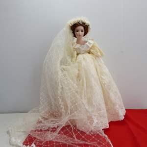Lot # 289  Large bride doll by Seymour (had a broken shoe)
