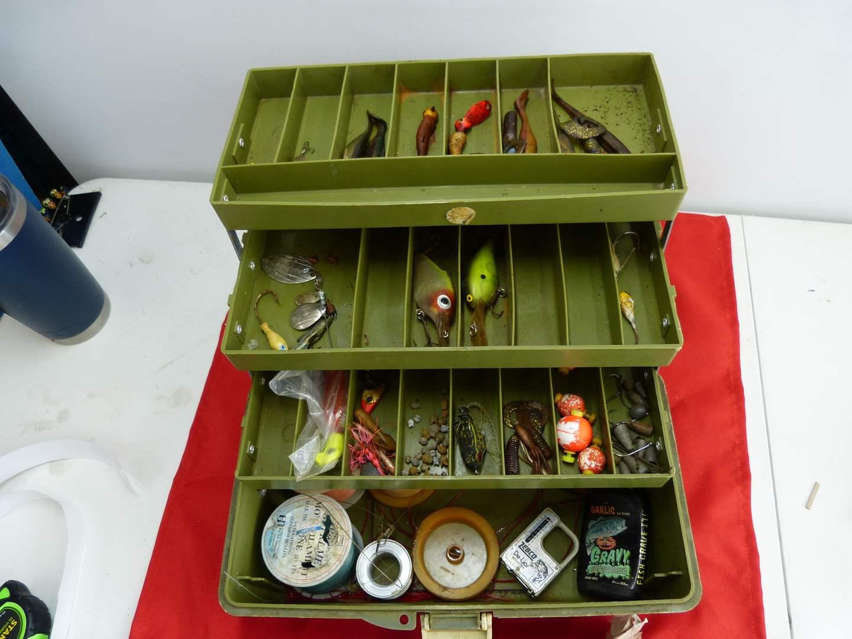 Lot # 299  Lot of fishing tackle w/box (main image)