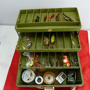 Lot # 299  Lot of fishing tackle w/box