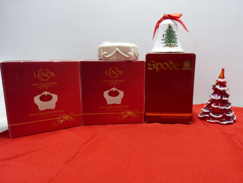 Lot # 79  2 NEW Lenox candle holders - Spode Christmas Bell & Fenton Christmas Tree