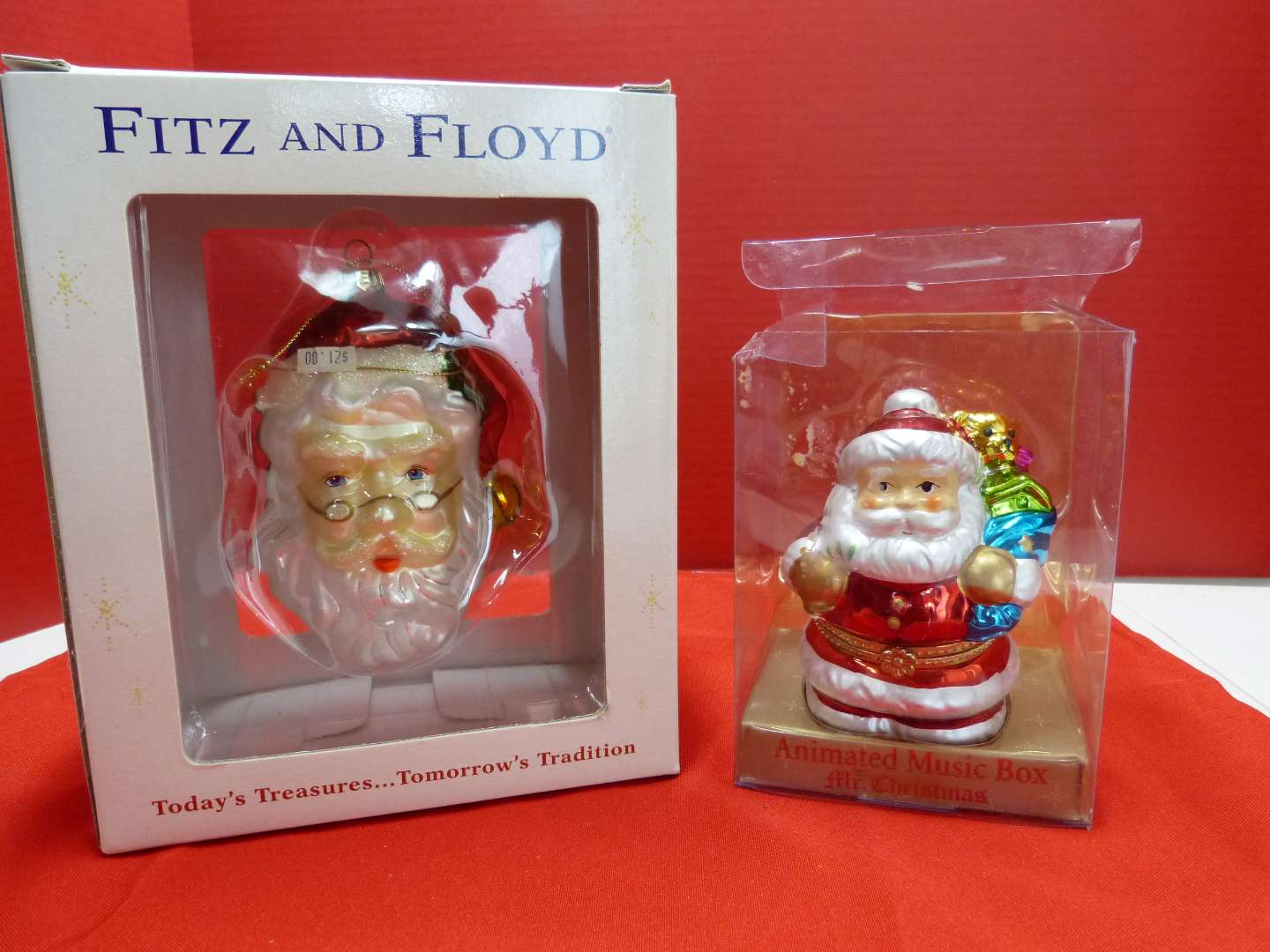 """Lot # 143  2 Christmas collectible to include """"Fitz & Floyd"""" Santa & Santa music box (works)"""