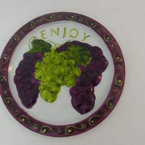 """Lot #61 Hand Painted Glass Platter/Tray with Grape Design - 14"""" Diameter"""