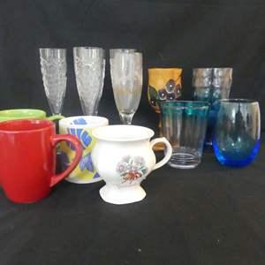 Lot #79 Misc. Drinkware including Haitian Wooden Wine Goblet