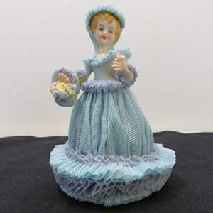 Lot # 142  Irish Belleek Dresden figurine incredible condition