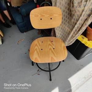 2. swivel stool wood seat steel base