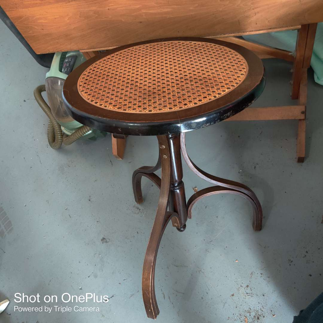 14 small table with cane top bentwood legs 17 in wide 24 in tall