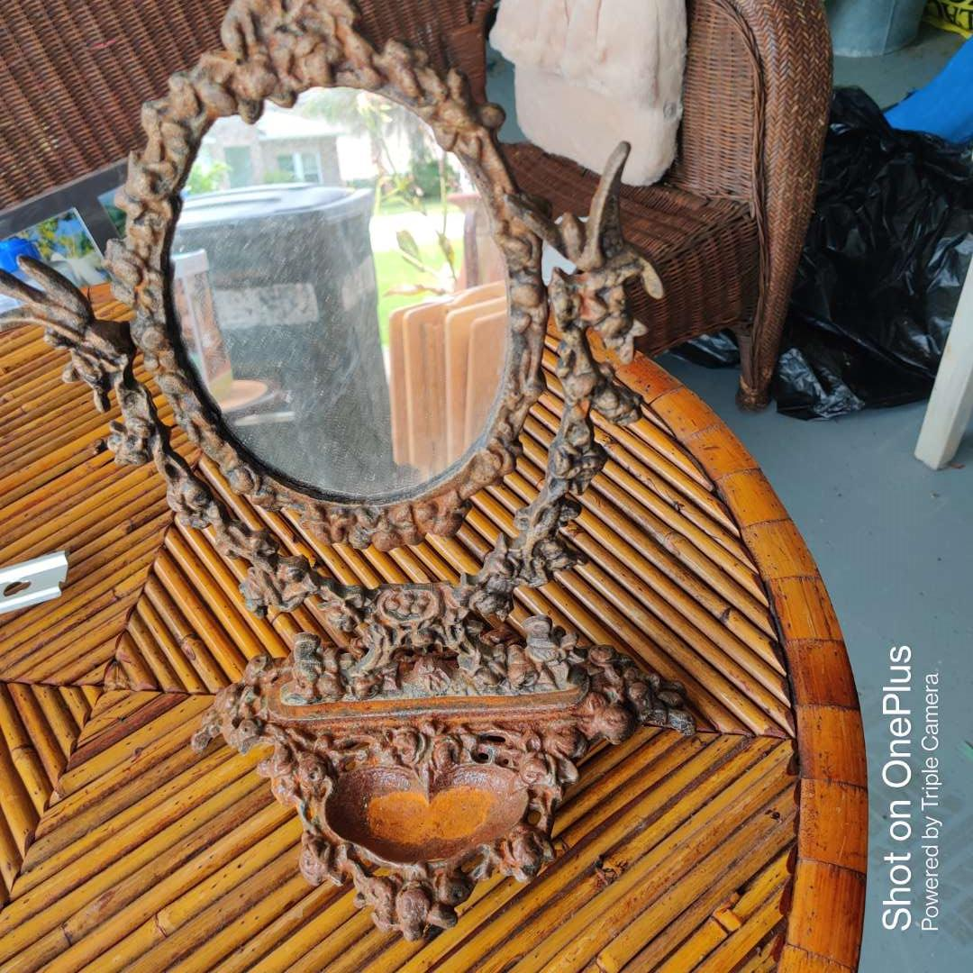 33 iron dresser shaving mirror with stand very ornate 13 in tall