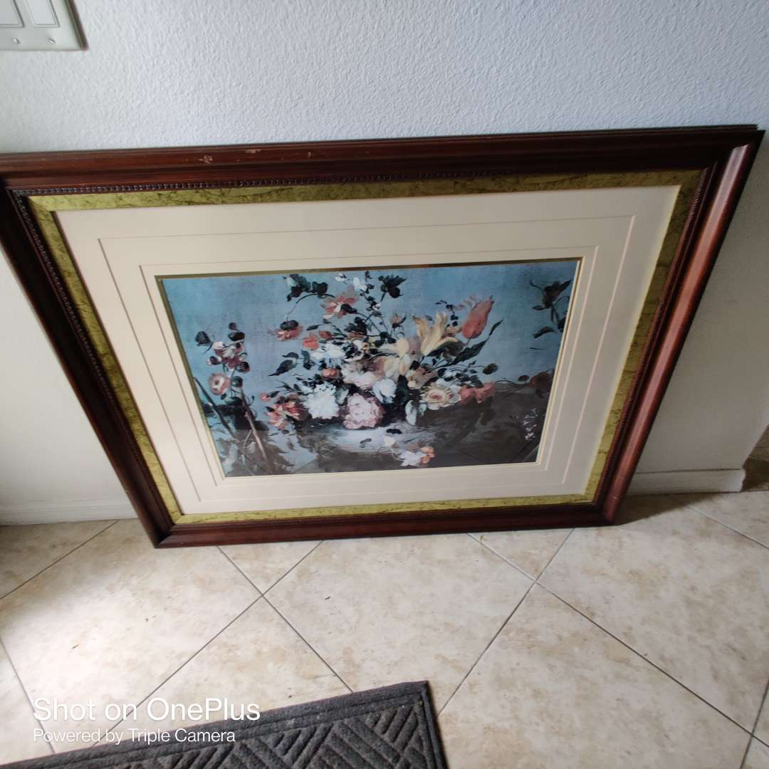 42 large floral framed art 46x36 great condition
