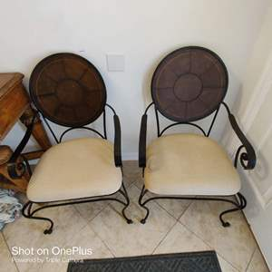 50 Pair of very nice designer decorator chairs the back appears to be leather covered
