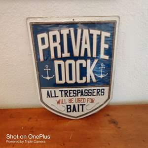 58 metal private dock 12-in tall sign