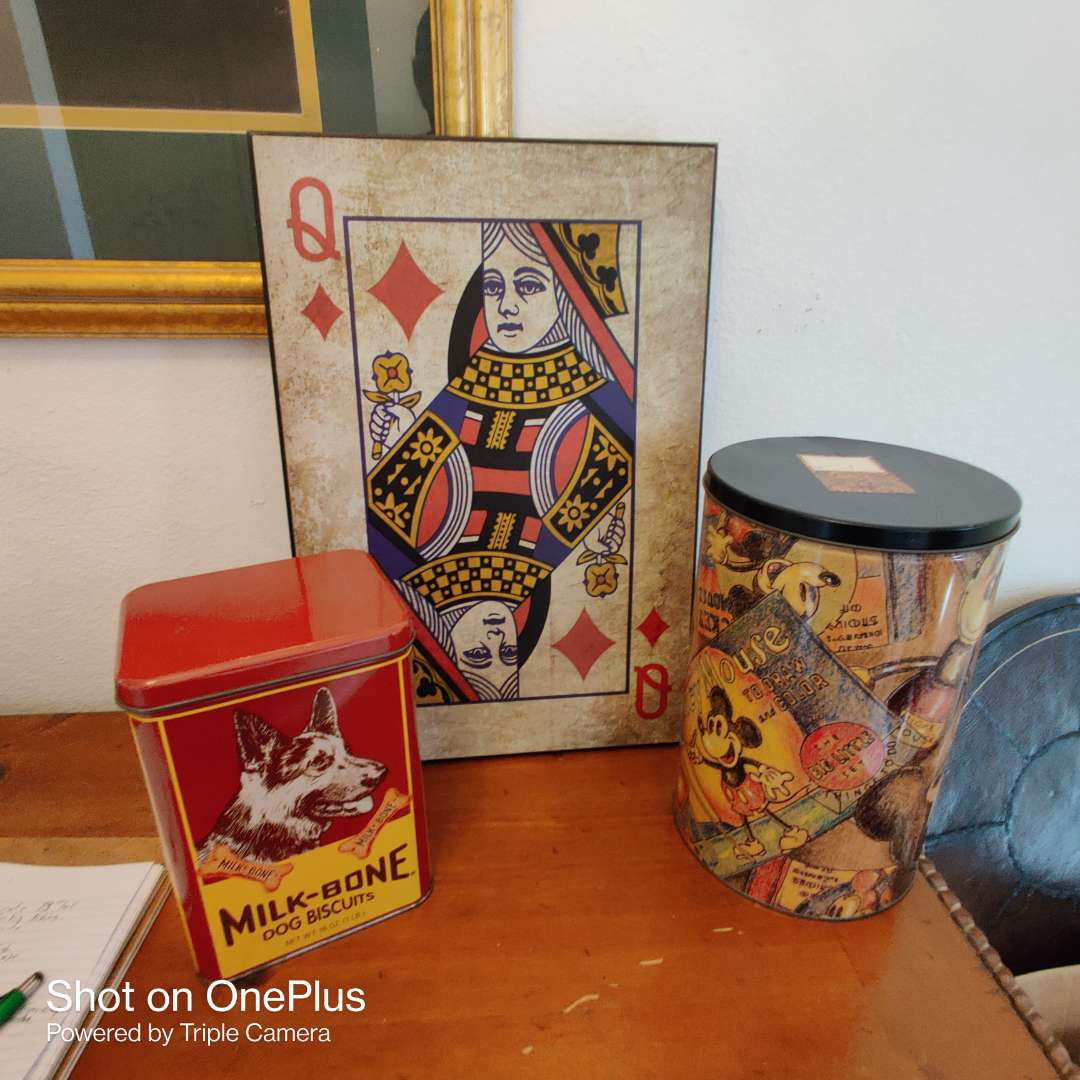 59 a lot of three pieces tall card sign and two tins one is Disney