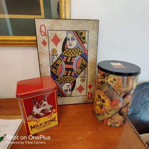 59 3 pieces tall card sign and two tins one is Disney
