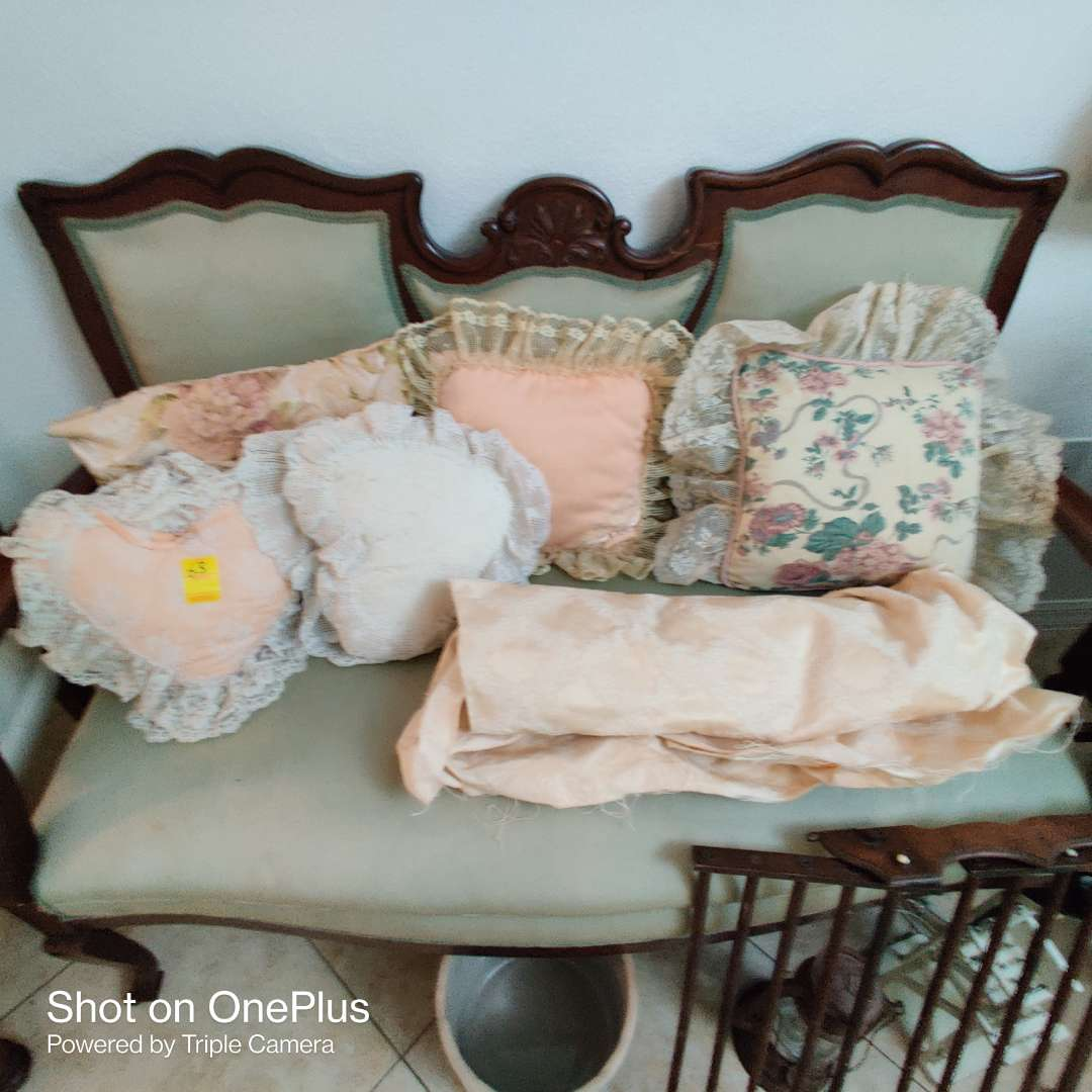 62 lot of six pillows and material