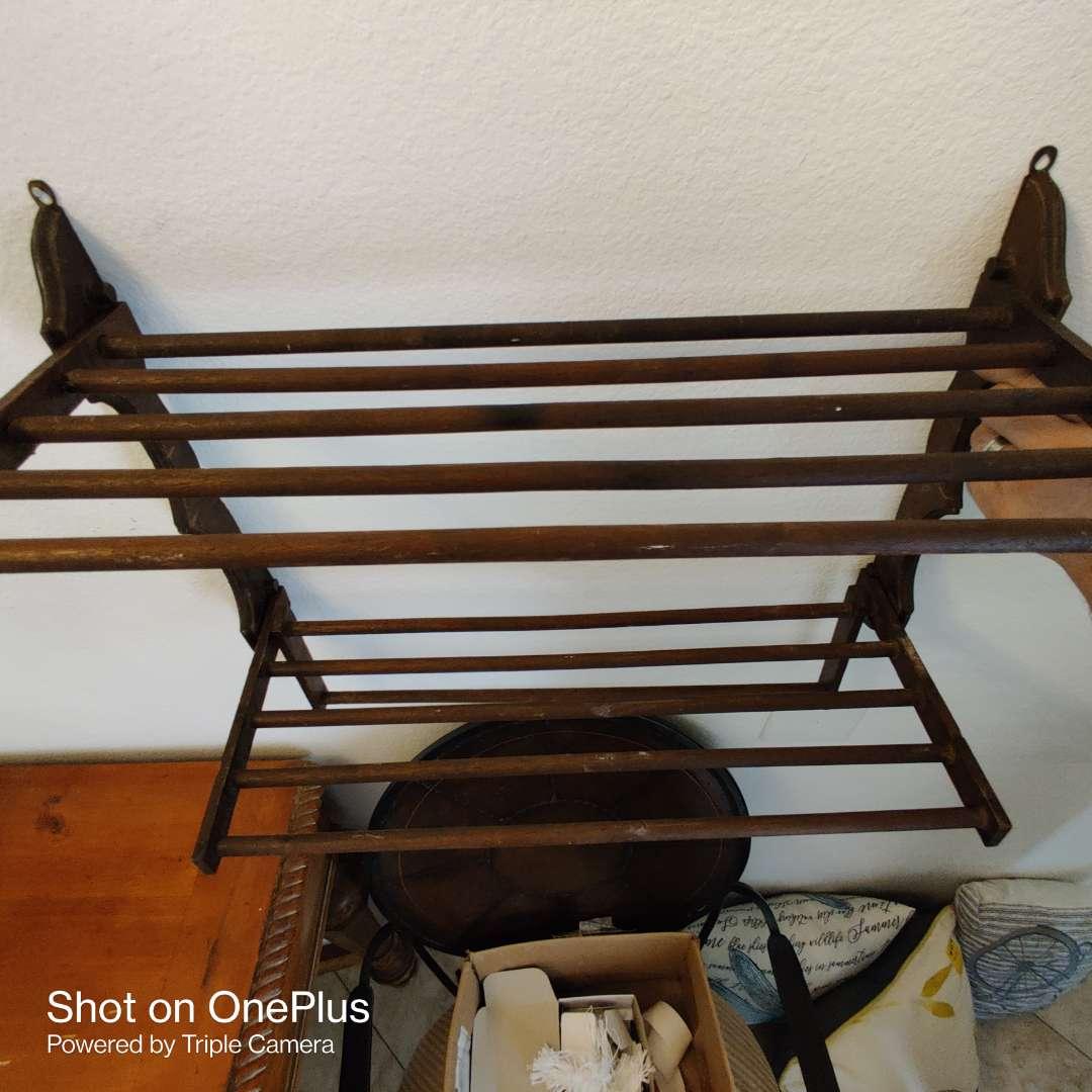 63 vintage wooden hanging towel rack