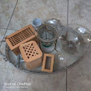 75 very nice tray with handles and eight items glass and wood boxes