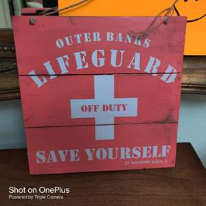 81 wooden sign 12 in x 12 in outer Banks lifeguard off duty
