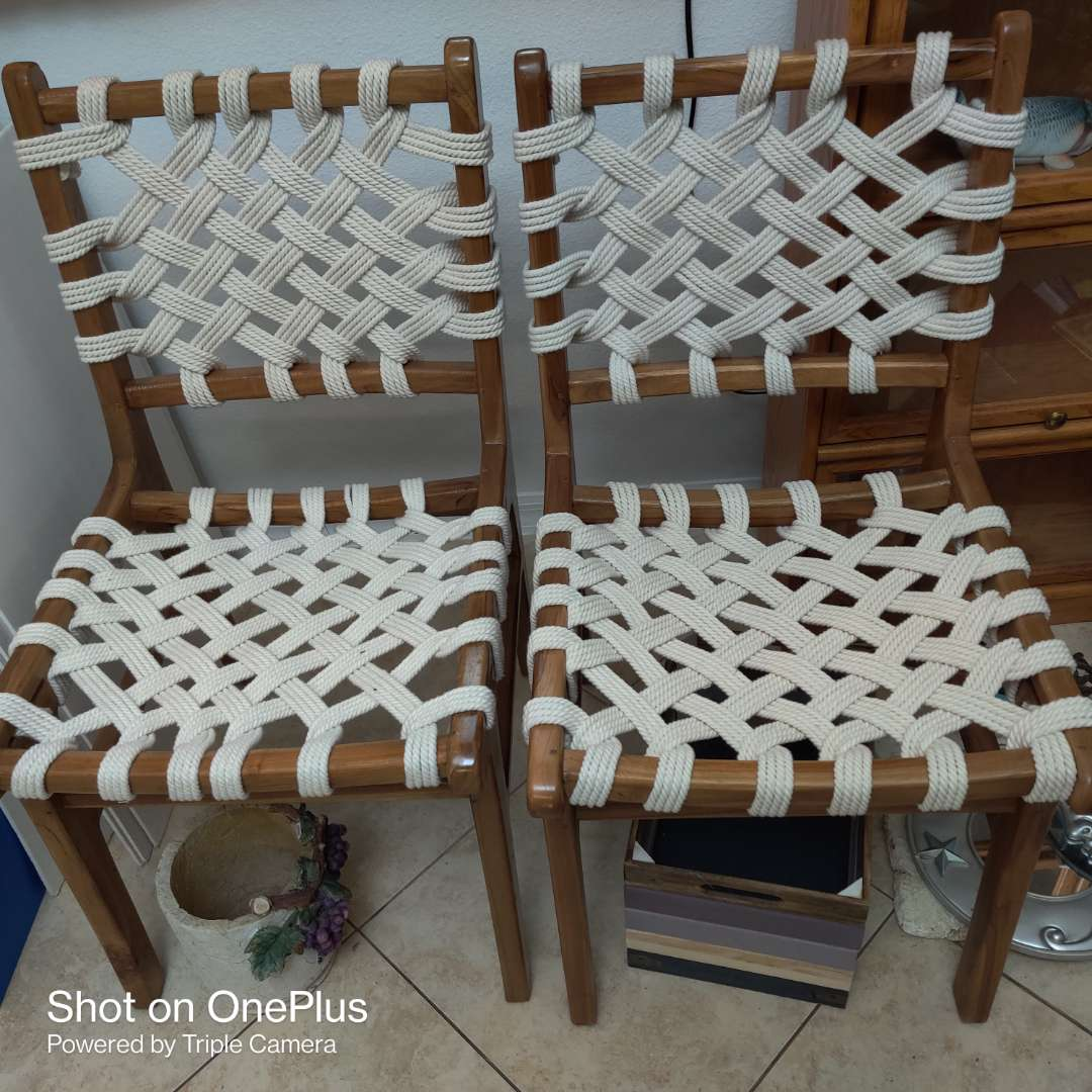 83 very nice pair of designer rope chairs in great condition