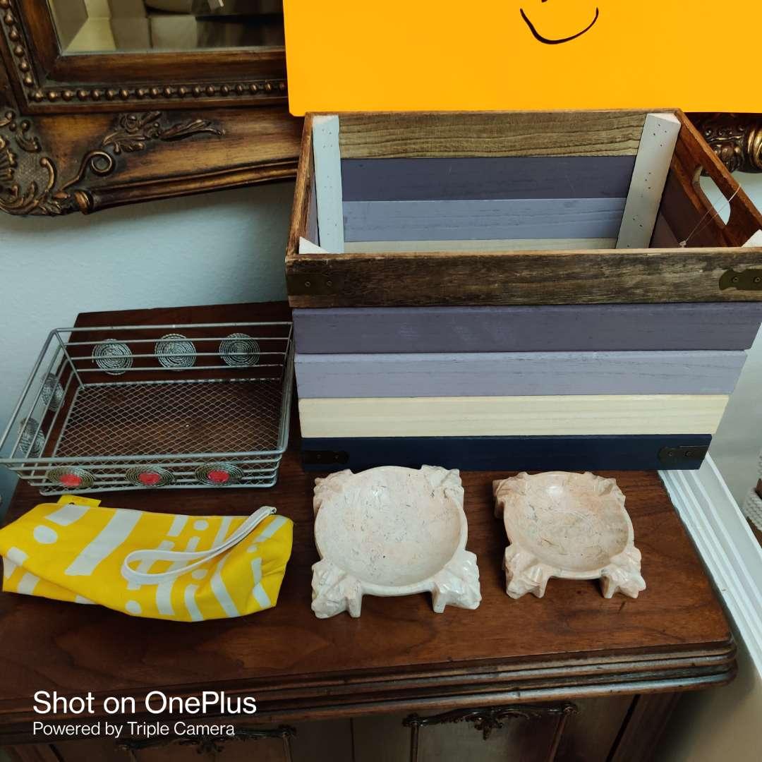 84 wooden tray box and ashtray