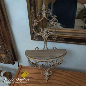93 very ornate metal wall sconce shelf 20 in tall