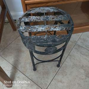 94 small 14-in tall metal stool little  rough