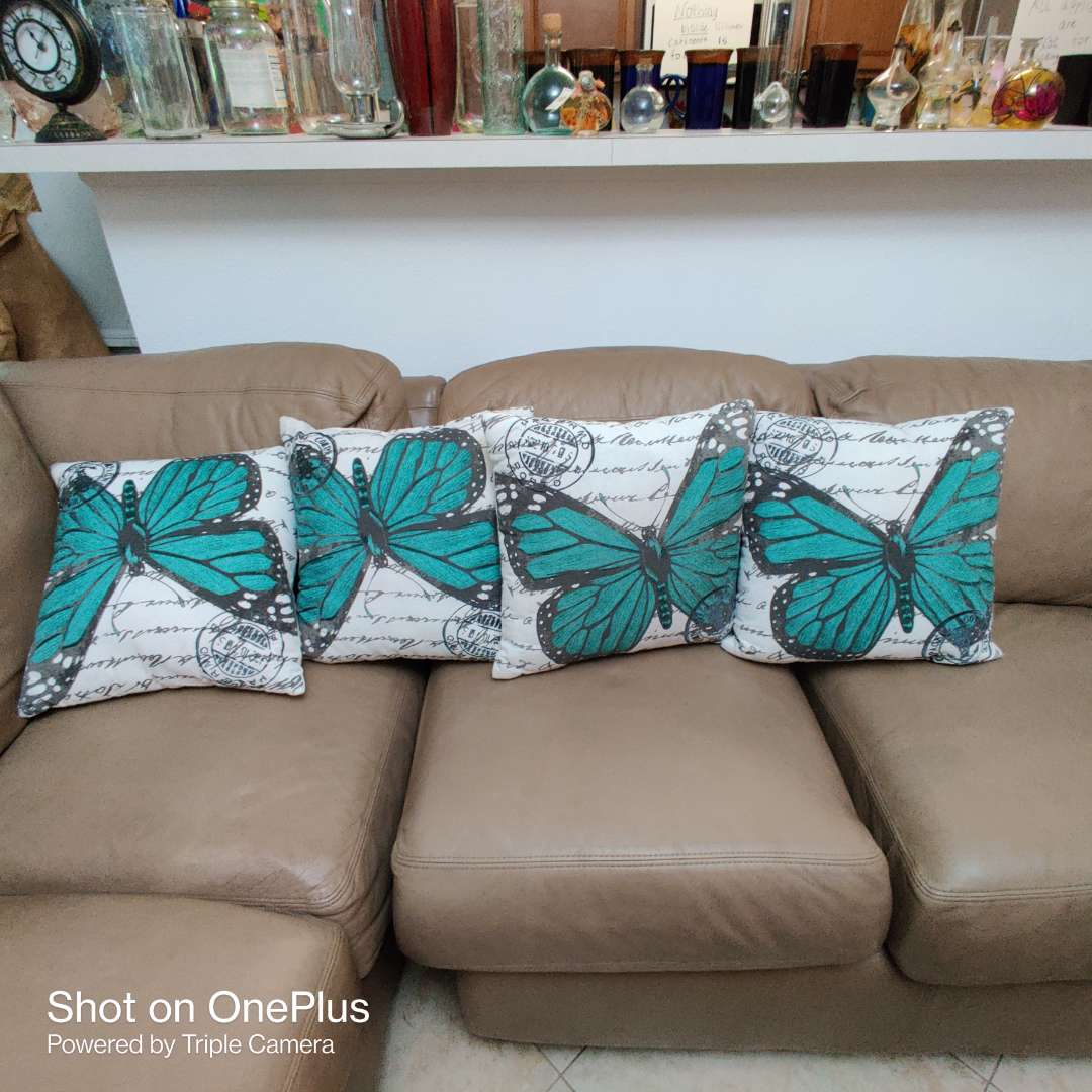 98 lot of four butterfly pillows very nice