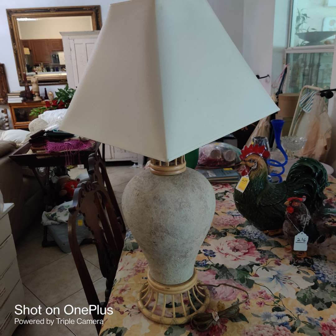 138 very nice designer lamp 34 in tall rattan and porcelain