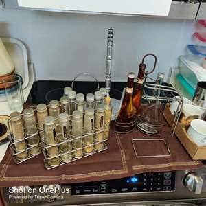140  lot of six items spice racks metal and more