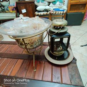 153 what club three pieces glass bowl with metal base oil lamp
