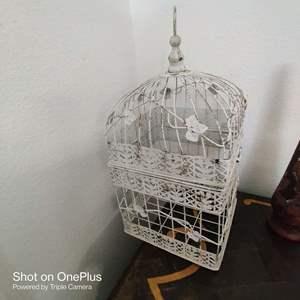 156 white decorator metal bird cage
