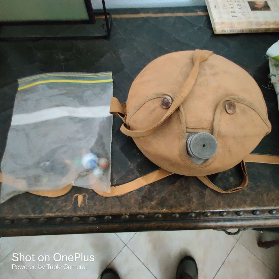 160 boy scout canteen and a bag with marbles vintage marbles