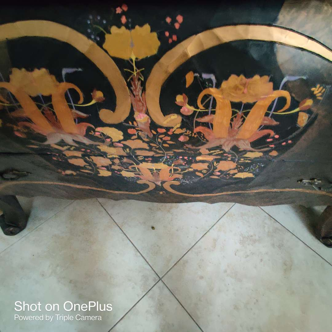 162 Bombay style very nice black painted up chest 48 inches wide 22 inches deep and 37 in tall