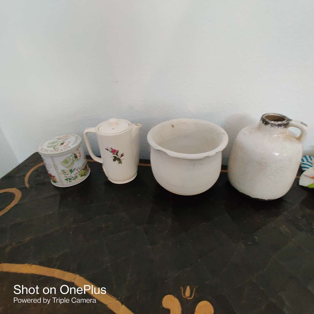 165 four pieces coffee pot with lid jug vase and tin
