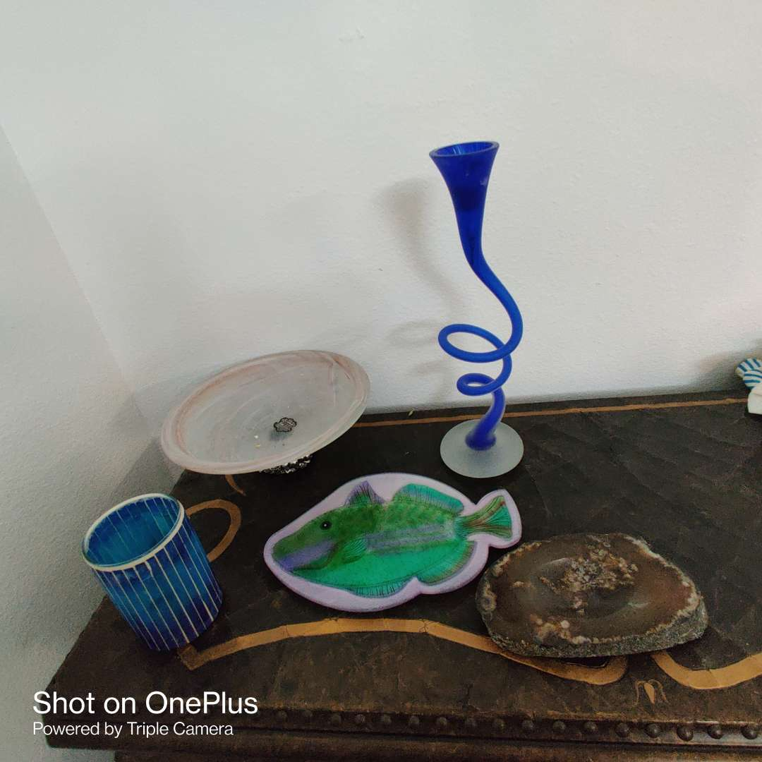 166 thought of five pieces of glass fish compote Rock tray Blue vase