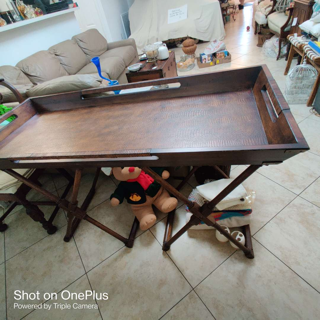 169 very nice folding table with lift off large tray 25 inches wide 56 in Long 33 in tall great condition