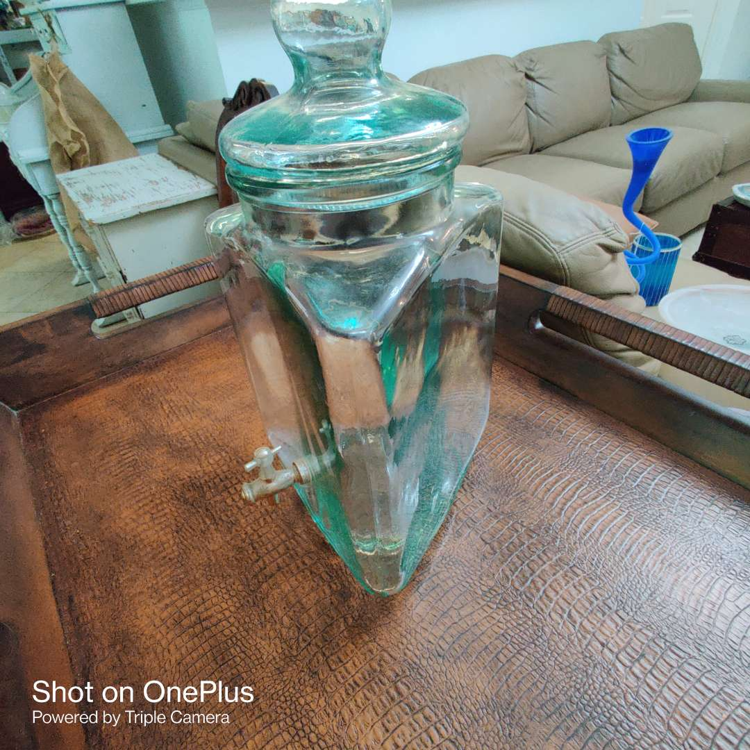 174 green glass jar with spigot 16 in tall good condition