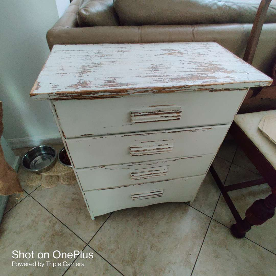 175 small white distressed four drawer chest of drawers 24 inches by 30 inches tall