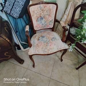 179 french chair tapestry seat with arms great condition
