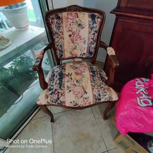 189 very nice French armchair with tapestry style seat and back
