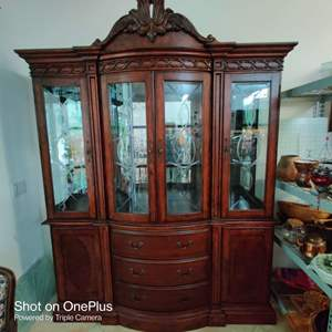 200 outstanding great quality lighted mahogany china cabinet glass shelves etched front 72 in wide and 92 in tall excellent con